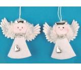 Anděl z filcu bílý 7 cm, 2 kusy v sáčku