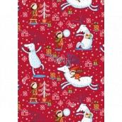 Ditipo Dárkový balicí papír 70 x 200 cm Vánoční červený jelen s holčičkou