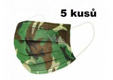 Rouška 3 vrstvá ochranná zdravotní netkaná jednorázová, nízký dýchací odpor 10 kusů Kamufláž
