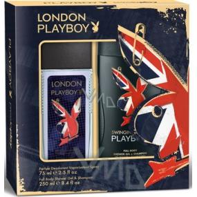 Playboy London parfémovaný deodorant sklo pro muže 75 ml + sprchový gel 250 ml, kosmetická sada