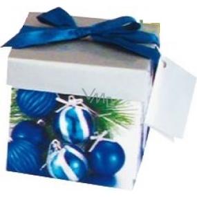 Dárková krabička s mašlí skládací vánoční stříbrná s modrou mašlí 1370 XS 10 x 10 x 10 cm 1 kus