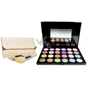 Be Chic! Playful Colors kosmetická paleta očních stínů 24 barevných odstínů + Pearle Miracle sada kosmetických štětců 10 kusů