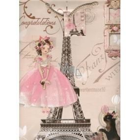 Nekupto Dárková papírová taška velká BL Holčička v růžových šatech 32,5 x 26 x 13 cm