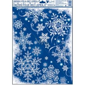 Room Decor Okenní fólie bez lepidla rohová zamrzlá s duhovými glitry velké vločky 42 x 30 cm