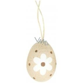 Vajíčko přírodní na zavěšení hnědý dekor puntík, hnědý pruh a bílá kytka 6 cm