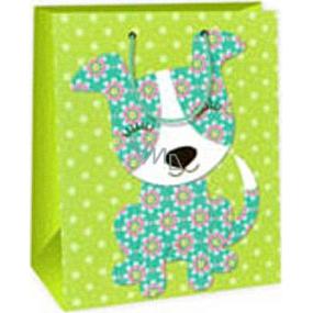 Ditipo Dárková papírová taška 26,4 x 13,7 x 32,4 cm světle zelená pejsek AB