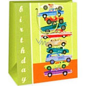 Ditipo Dárková papírová taška 26,4 x 13,7 x 32,4 cm zelená auta AB