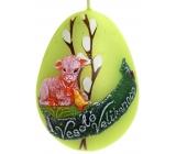 Beránek velikonoční svíčka metal mat světle zelená vajíčko 60 mm