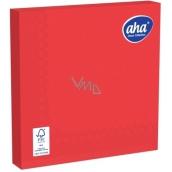 Aha Papírové ubrousky 3 vrstvé 33 x 33 cm 20 kusů jednobarevné červené syté