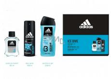 Adidas Ice Dive voda po holení 50 ml + sprchový gel 250 ml + deodorant sprej 150 ml, kosmetická sada pro muže