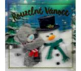 Me to You Blahopřání do obálky 3D Kouzelné Vánoce Medvídek se sněhulákem 15,5 x 15,5 cm