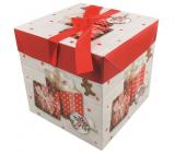 Dárková krabička skládací s mašlí Vánoční s dárky a perníčkem 16,5 x 16,5 x 16,5 cm