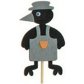 Zápich vrána v zástěře šedá 7 cm + špejle 15 cm