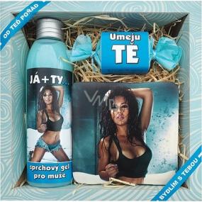 Bohemia Pro muže Já + Ty sprchový gel 200 ml + ručně vyráběné mýdlo 30 g + dekorační kachlík s potiskem 10 x 10 cm, kosmetická sada