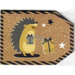 Nekupto Vánoční kartičky na dárky ježek 5,5 x 7,5 cm 6 kusů