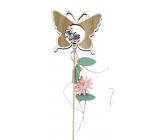 Jarní zápich dřevěný 10 cm + špejle motýl