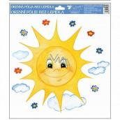 Okenní fólie ručně malovaná sluníčka, kytičky 30 x 30 cm