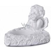 Emocio Anděl sádrový na čajovou svíčku bílý 80 x 60 mm
