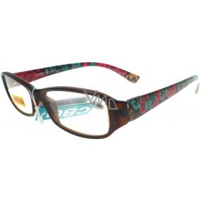 Berkeley Čtecí dioptrické brýle +1,0 hnědé s kytkama 1 kus ER4140