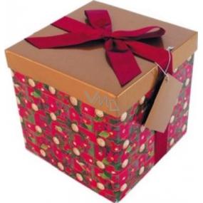Dárková krabička s mašlí skládací vánoční červená s vínovou mašlí 1372 M 15 x 15 x 15 cm 1 kus