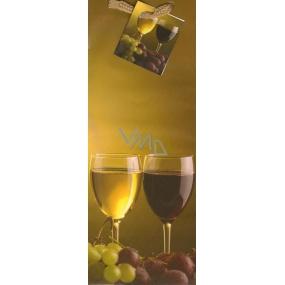 Nekupto Dárková papírová taška na láhev 33 x 10 x 9 cm hnědá s poháry vína 09 01 ALH