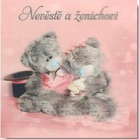 Albi Me To You Blahopřání do obálky 3D Nevěstě a ženichovi, Sedící zamilovaní medvědi,15,5 x 15,5 cm