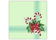 Forest Vánoční papírové ubrousky Zelené s červenou mašlí 1 vrstvé 33 x 33 cm 20 kusů