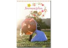 Albi Hrací přání do obálky K svatbě Novomanželé s deštníkem Stand by me 14,8 x 21 cm