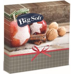 Big Soft Papírové ubrousky 2 vrstvé 33 x 33 cm 20 kusů Vánoční Jablíčka, skořice, ořechy