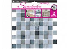Room Decor Samolepka na zeď mozaika plastická, imitace obkladů, šedá 2 archy 25,5 x 25,5 cm