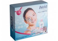 Astrid Aqua Biotic denní a noční krém pro suchou a citlivou pleť 50 ml + 3v1 micelární voda 400 ml + Trendy edice Perleťový lesk tónovací balzám na rty 4,8 g, kosmetická sada
