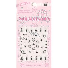 Nail Accessory 3D nálepky na nehty 1 aršík 10100 BG16