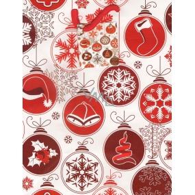 Nekupto Dárková papírová taška střední 918 30 WBM Bílá s červenými vzory 23 x 18 x 10 cm