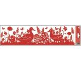 Room Decor Okenní fólie pruh velikonoční siluety červené 2 husy 45 x 12 cm