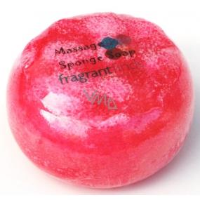 Fragrant Red Delicious Glycerinové mýdlo masážní s houbou naplněnou vůní parfému DKNY Red Delicious v barvě červené 200 g