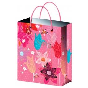 Taška Dárková celoroční růžová s květy S 15 x 12 x 5,5 cm