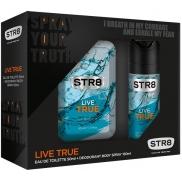 Str8 Live True toaletní voda pro muže 50 ml + deodorant sprej 150 ml, dárková sada