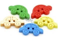 CreaFun Dřevěné knoflíčky Autíčka mix barev 10 x 20 mm 30 kusů
