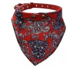 B&F Obojek kožený s bavlněným šátkem červeným 2,2 x 60 cm