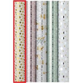 Zöwie Dárkový balicí papír 70 x 150 cm Vánoční Platinum zlaté hvězdičky