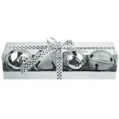 Rolničky stříbrné 4 cm v dárkové krabičce s mašlí 5 kusů