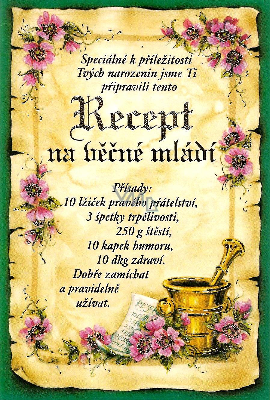 přání k 50 tým narozeninám Nekupto Přání k narozeninám Recept na věčné mládí   VMD drogerie přání k 50 tým narozeninám