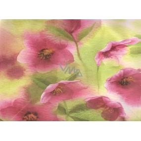 Nekupto Dárková kraftová taška střední 32,5 x 26 x 13 cm růžové květiny, 122 CL