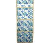 Kapsář do koupelny látkový závěsný modré a tyrkysové květy 44 x 17 cm 3 kapsy 667