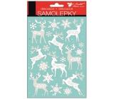 Room Decor Samolepky bílé se stříbrnými glitry jeleni 25 x 14 cm