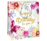 Ditipo Dárková papírová taška světle zelená, květy Happy 18 x 10 x 22,7 cm QC Glitter