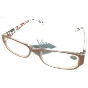 Berkeley Čtecí dioptrické brýle +1,0 plast oranžovo hnědé stranice s obdelníky 1 kus MC2084