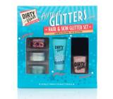 Dirty Works All That Glitters kalíšek se třpytkami 3 x 0,8 g + lepidlo na třpytky 10 ml + lak na nehty 10 ml, kosmetická sada