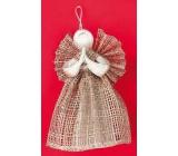 Andílek z pytloviny, široká sukně hnědý 15 cm