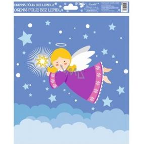 Okenní fólie bez lepidla Veselí andílci barevní 2. Fialový andílek 29,5 x 24 cm